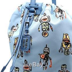 $1650 Prada Bucket Bag Robot Print Large Limited Edition New