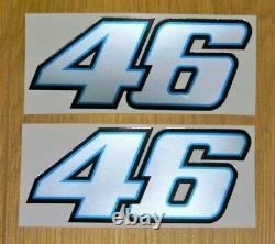 2 Valentino Rossi Sticker 46- Vr46 Silver/blue Limited Edition Decal 8 CM