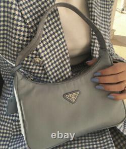 AUTH! NEW Prada Re-edition 2000 Astral Blue Nylon Mini Tessuto Shoulder Hobo Bag