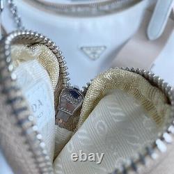 AUTH! Prada Re-edition 2005 White Nude Nylon Tessuto Shoulder Crossbody Bag