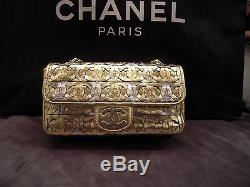 Auth CHANEL Limited Edition Metallic Gold/ Silver CC Logo Bag L 11.0 x H 5.5