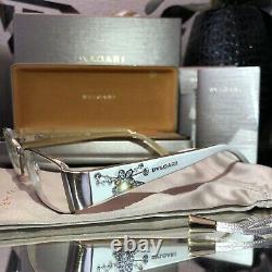 Bvlgari Eyeglasses Ivory White Swarovski Crystal Limited Edition 2078 VERY RARE