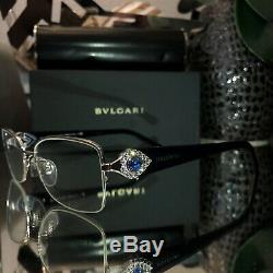 Bvlgari Eyeglasses Swarovski Crystal Limited Edition 2157-B Sapphire SOLD OUT