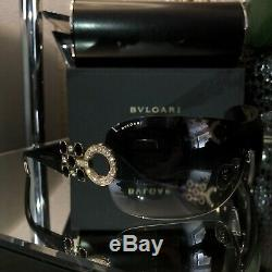 Bvlgari Sunglasses 6063-B Limited Edition Swarovski Crystal Gold Black VERY RARE