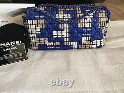 CHANEL LIMITED EDITION ROYAL BLUE HAND-WOVEN LEATHER FLAP BAG NWT RETAILS 10k