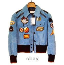 COACH 1941 LIMITED EDITION NASA Blue Suede Leather Jacket Space Patches Size 4