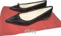 Christian Louboutin Hall Flats Version Black Spiked Ballerina Shoes 37