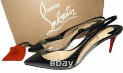Christian Louboutin Optisexy 70 Slingbacks Pumps Black Version Leather Shoes 38