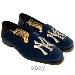 GUCCI x NY Yankees Mens Limited Edition Velvet Logo Slip On Loafers 6 MSRP $890