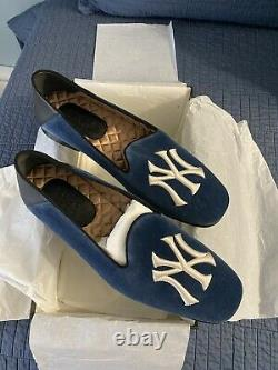 GUCCI x NY Yankees Mens Limited Edition Velvet Logo Slip On Loafers Size 10.5