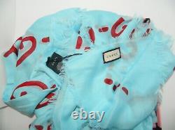Gucci Ghost Blue Red GG Modal Silk Scarf Shawl Limited Edition Box 449009 $495