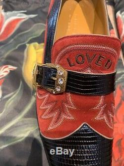 Gucci Leather Suede Mens Shoes Designer Size 9 Limited Edition Crystals V Rare