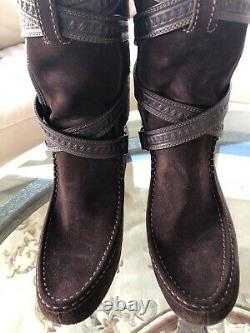 LIMITED EDITION LOUIS VUITTON Winter Leather Suede Brown Boots sz 39 New MFA0140
