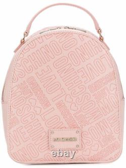 LOVE MOSCHINO Logo Embossed Backpack Large Signature Pink LIMITED EDITION
