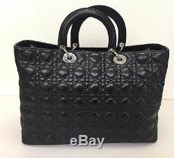 Lady Dior XLarge Lambskin Shopper Tote Bag 100% Authentic Rare Limited Edition