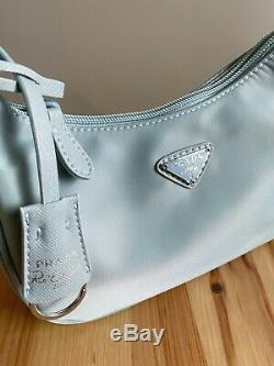 MINT! Prada Re-edition 2005 Astral Blue Nylon Saffiano Hobo Shoulder Satchel Bag