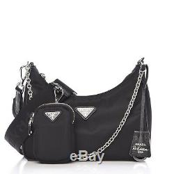 Mint! Prada Detachable Re-edition 2005 Nylon Hobo Shoulder Bag Handbag with Pouch