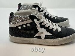 NEW $635 Sz 36 Golden Goose Private Edition Midstar Glitter Sneaker Black Silver