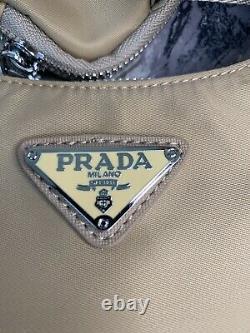 NEW! Auth Prada Re-edition 2005 Beige Nylon Tessuto Shoulder Crossbody Hobo Bag