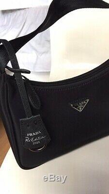 NEW! Authentic Prada Black Hobo Re-Edition 2000 Nylon Mini Tessuto Shoulder Bag