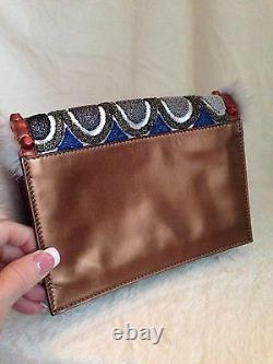 NEW LIMITED EDITION FENDI Multicolor MINK TRIM Handbag Clutch Evening Bag