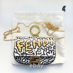 NEW! Limited Edition Fendi Nano Graffiti Baguette Crossbody Chain Bag Charm