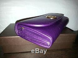 NIB Gucci Vintage Metal Logo Purple Eggplant Leather Limited Edition Wallet New