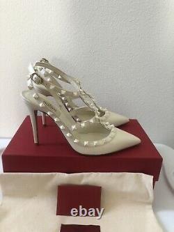 NIB Valentino Rockstud Rare Limited Edition Wedding Bridal Slingback Pumps 39.5
