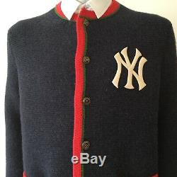 NWT Auth. Gucci NY Yankees Edition Cardigan Navy Mens Size L