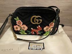 NWT GUCCI MARMONT LIMITED EDITION GG FAWN & FLOWERS Crossbody Purse Shoulder Bag