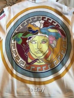 New $1225 Versace Limited Edition Pop Medusa White Multi Color Hoodie Size Large