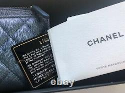 New Auth CHANEL Blue Caviar Leather Wallet Case Clutch 2019 Limited Edition