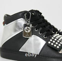 New Gucci Men's Silver Leather High-top Sneaker Limited Edition 8G 376194 1064
