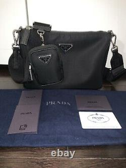 PRADA Mens Re-edition Model Black Nylon Pouch Messenger Cross Body Bag