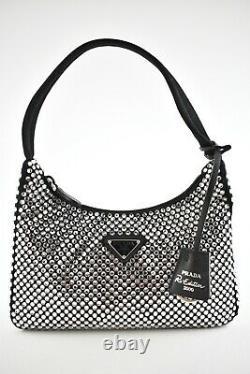 Prada Re-Edition 2000 Black Satin Silver Crystal Nylon Shoulder Small Hobo Bag