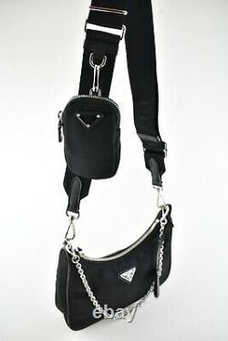 Prada Re-Edition 2005 Nylon Black Shoulder Detachable Pouch Crossbody Strap Bag