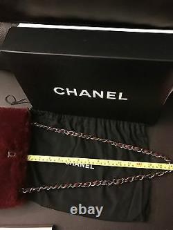 RARE CHANEL Limited Edition Rabbit Fur Leather Classic Chain Shoulder Bag Purse