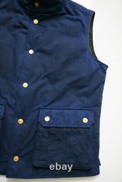 STEFANO RICCI Limited Edition Blue Hunting Vest with Brown Leather Trim Size 2XL