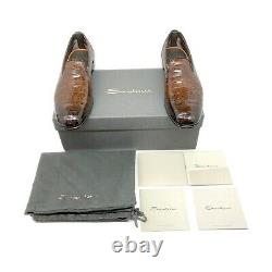 Santoni Limited Edition Brown Crocodile Leather Mens Shoes, MSRP $5850