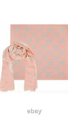 100% Authentique Gucci Large Gg Ghost Silk Scarf Limited Edition