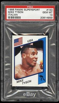 1986 Panini Supersport Mike Tyson Boxe Rookie Rc # 153 Version Italienne Psa 10