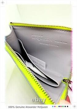 Alexander Mcqueen Limited Edition Fluorescent Yellow Zippered Rib Cage Wallet