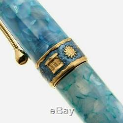 Aurora Optima Sun Moon Lake Sunset Limited Edition Laque Blue Fountain Pen