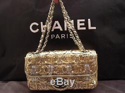 Auth Chanel Limited Edition Metallic Gold / Argent CC Logo Sac L 11,0 X H 5,5