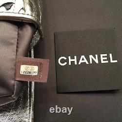Auth Chanel Limited Edition Metallic Silver/ Bronze CC Logo Bag L 11.0 X H 5.5