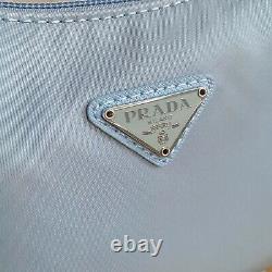 Auth! Nouveau Prada Réédition 2000 Astral Blue Nylon Mini Tessuto Shoulder Hobo Sac