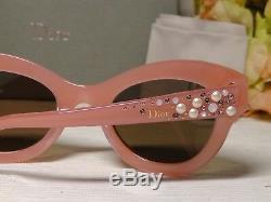 Christian Dior Cat Eye Rose Brillance Edition Limitée Cristaux Cadre Lunettes De Soleil