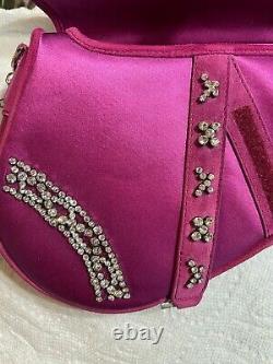 Christian Dior Satin Fuchsia Satin Jeweled Limited Edition Sac De Selle-$6250