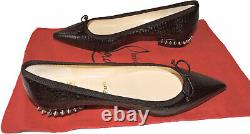 Christian Louboutin Hall Flats Version Black Spiked Ballerina Chaussures 37
