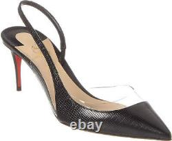 Christian Louboutin Optisexy 70 Slingbacks Pumps Black Version Leather Shoes 38